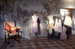 Exhibition of vintage clothes. Date: December 8, 2014. Event: Exhibition of vintage clothes and photographs in the Medieval Palace Pallotta. Medieval town of Royalty Free Stock Image