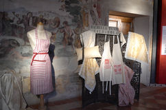 Exhibition of vintage clothes. Date: December 8, 2014. Event: Exhibition of vintage clothes and photographs in the Medieval Palace Pallotta. Medieval town of Stock Photo