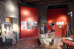 Exhibition of vintage clothes. Date: December 8, 2014. Event: Exhibition of vintage clothes and photographs in the Medieval Palace Pallotta. Medieval town of Royalty Free Stock Photos
