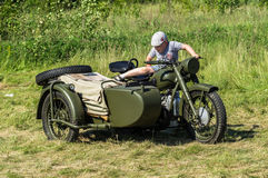 Exhibition of vintage military equipment in the Kaluga region in Russia on 26 June 2016. Stock Photos