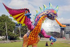 Exhibition and virtual visit on Mexico. Paris, the Parc de la Villette (France). from 4 to 22 July 2015. an Alebrije, the dragon Royalty Free Stock Image