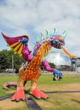 Exhibition and virtual visit on Mexico. Paris, the Parc de la Villette (France). from 4 to 22 July 2015. an Alebrije, the dragon Stock Image