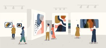 Exhibition visitors viewing modern abstract paintings at contemporary art gallery. People regarding creative artworks or. Exhibits in museum. Colorful vector stock illustration