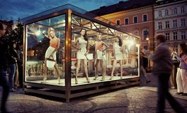 Exhibition window in a city center Royalty Free Stock Images