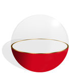 Exhibitor. Sphere half transparent and half red on white background royalty free illustration