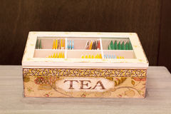 Exhibitor of tea bags seen from above Stock Photo
