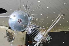 Exhibits in the interior of the Museum of cosmonauts in Kaluga Russia. Historical exhibits and aircraft in the interior of the Museum of cosmonauts in Kaluga royalty free stock image