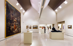 Exhibits of National Art Museum of Catalonia Stock Images