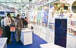 Exhibits related to space science and astronomy. Visitors and enthusiasts going through the exhibits of Indian Space Research Organization (ISRO) related to Stock Photo