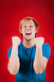 Exhilarated young man Royalty Free Stock Images