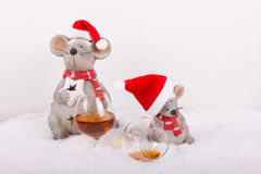 Exhilarating Christmas in the snow. With empty glass of brandy in landscape format stock photo