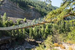 A swinging bridge over a ravine in montana Royalty Free Stock Photos