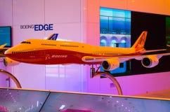 Exibe modelos novos dos aviões de Boeing 737, 747, 787, 777 Rússia, Moscou em agosto de 2015 Imagem de Stock