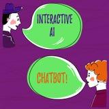 Exibição Ai interativo Chatbot do sinal do texto Programa informático conceptual da foto que simula a mão da conversação do huana ilustração do vetor