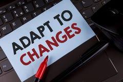 A exibição conceptual da escrita da mão adapta-se às mudanças Foto do negócio que apresenta a adaptação inovativa das mudanças co imagens de stock