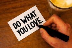 A exibição conceptual da escrita da mão faz o que você ama Escolha positiva Te de Desire Happiness Interest Pleasure Happy do tex Imagem de Stock