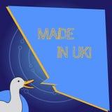 Exibição conceptual da escrita da mão feita no Reino Unido A foto do negócio que apresenta algo analysisufactured no Reino Unido  ilustração stock