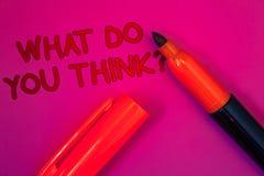 Exibição conceptual da escrita da mão o que você pensam a pergunta Mag da convicção do julgamento do comentário dos sentimentos d imagem de stock royalty free