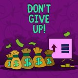 A exibição conceptual Don T da escrita da mão dá acima A foto do negócio que apresenta Keep que tenta até que você suceda segue o ilustração stock