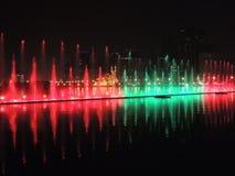 Exibição da cidade da noite da fonte do canto Foto de Stock