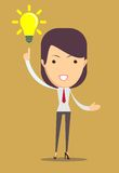 Exibição da mulher de negócio tem uma ideia Imagem de Stock