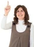 Exibição da mulher nova do dedo a acima Fotografia de Stock Royalty Free