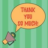 A exibição da nota da escrita agradece-lhe tanto Expressão apresentando da foto do negócio dos cumprimentos da gratitude da aprec ilustração royalty free