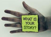 Exibição da nota da escrita o que é sua pergunta da história Foto do negócio que apresenta dizendo o writte pessoal da narração d imagens de stock