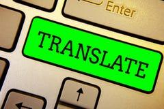 A exibição da nota da escrita traduz Foto do negócio que apresenta uma outra palavra com o mesmo significado equivalente de um te foto de stock