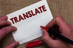 A exibição da nota da escrita traduz Foto do negócio que apresenta uma outra palavra com o mesmo significado equivalente do ha de fotografia de stock