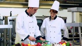 Exibição do cozinheiro chefe como desbastar vegetais video estoque