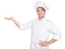 A exibição do cozinheiro chefe, do cozinheiro ou do padeiro isolou-se Fotos de Stock Royalty Free