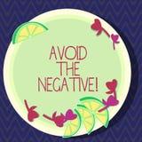 A exibição do sinal do texto evita o negativo Foto conceptual que pede que alguém vá para entalhes positivos da altura das ações  ilustração stock