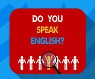 Exibição do sinal do texto você fala Englishquestion Foto conceptual que fala aprendendo a lupa diferente das línguas sobre ilustração stock