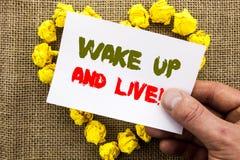 A exibição escrita à mão do sinal do texto acorda e vive Sonho inspirador Live Life Challenge do sucesso da foto conceptual escri foto de stock