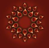 A exibição feliz do cartão do diwali iluminou a lâmpada ou o diya do diwali Fotografia de Stock