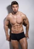 Exibição nova considerável do halterofilista de seu corpo do ajuste Foto de Stock Royalty Free