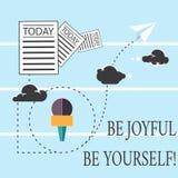 A exibição seja alegre seja você mesmo do sinal do texto A foto conceptual aprecia a felicidade da vida que sorri informação semp ilustração royalty free