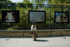 Exibited de whatching foto's van de vrouw op de omheining Stock Foto