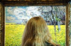 Exibition Visitor - Impressionistic Exibition at the Prague Castle. Prague, Czech republic Stock Photo