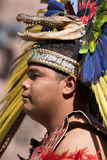 Exican indigenous man with crocodile head dress Stock Photos