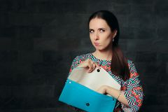 Unhappy Fancy Woman Checking Inside Empty Bag royalty free stock images