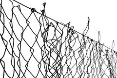 In Exile. Wire fence detail. Black and white. High contrast Stock Photos