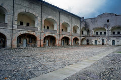 Exilles. The main court of the fort of exilles Royalty Free Stock Image