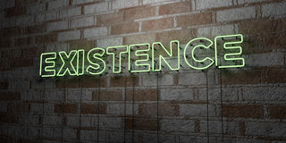EXISTENCE - Glowing Neon Sign on stonework wall - 3D rendered royalty free stock illustration Stock Photography