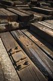 Existencias de durmientes de madera Imagen de archivo libre de regalías