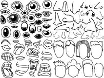 Existencias de las caras de las bocas de las narices de los ojos Fotografía de archivo