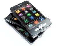 Existencias de los teléfonos de la pantalla táctil Foto de archivo libre de regalías
