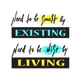 Exister et vivre - simple inspirez et citation de motivation Beau lettrage tiré par la main Copie pour l'affiche inspirée, t-shi illustration stock