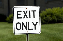 Exit Only. Sign With Green Background Stock Photography